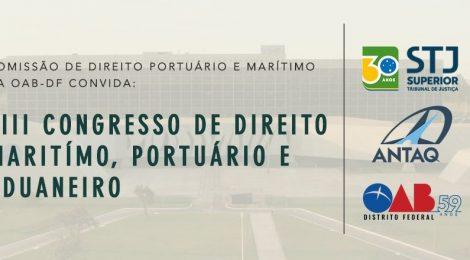 Congresso de Direito Marítimo, Portuário e Aduaneiro debaterá cabotagem e questões jurídicas dos portos