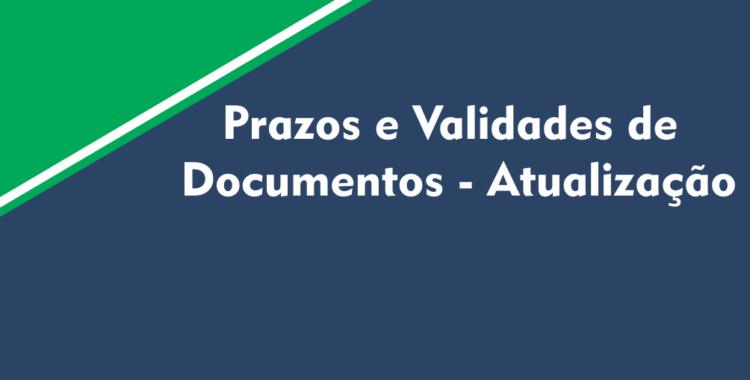 Prazos e Validades de Documentos - Atualização