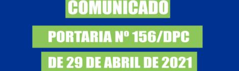 Publicação Portaria nº156 2021/DPC